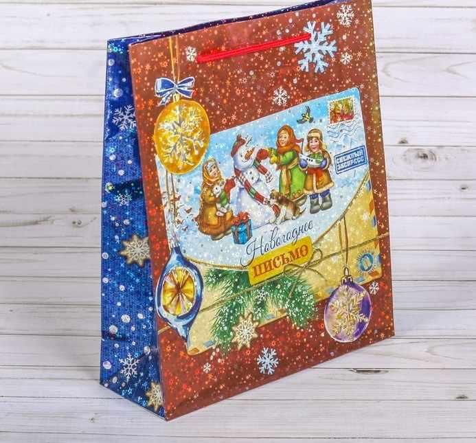 """2260167 Пакет подарочный голография вертикальный """"Новогоднее письмо"""""""