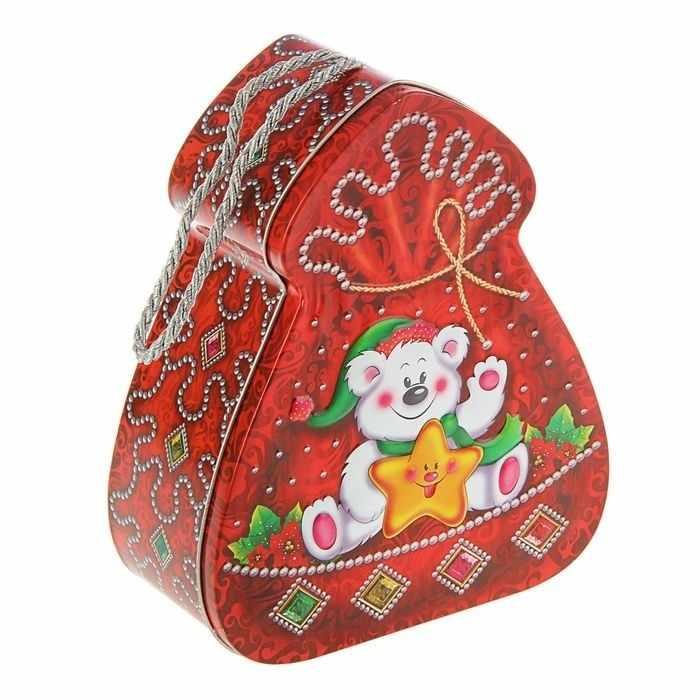 """1627224 Подарочная коробка """"Мишуткин сюрприз"""", ёлочка плоская"""