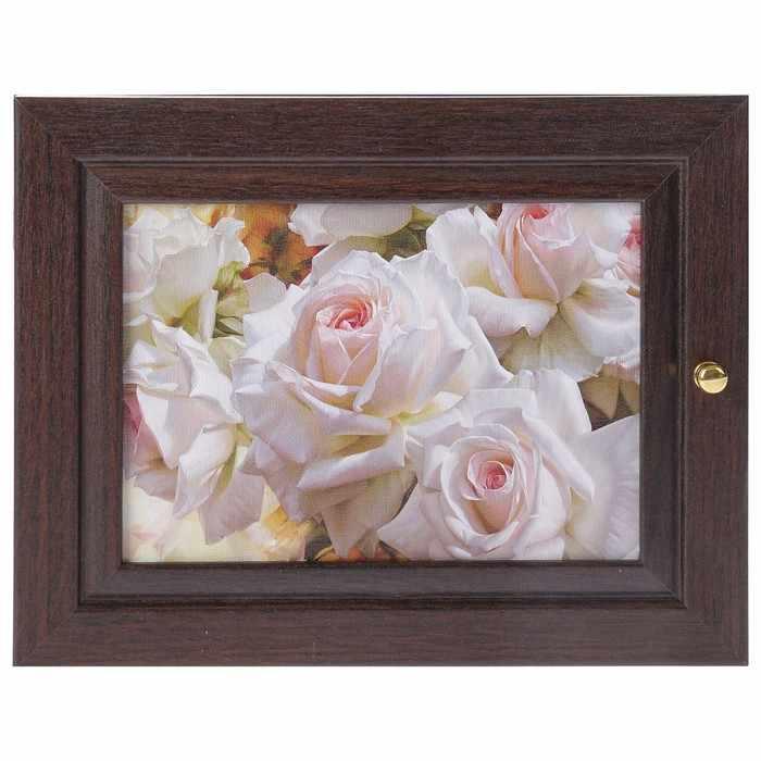 """2852713 Ключница """"Белые розы"""" венге"""