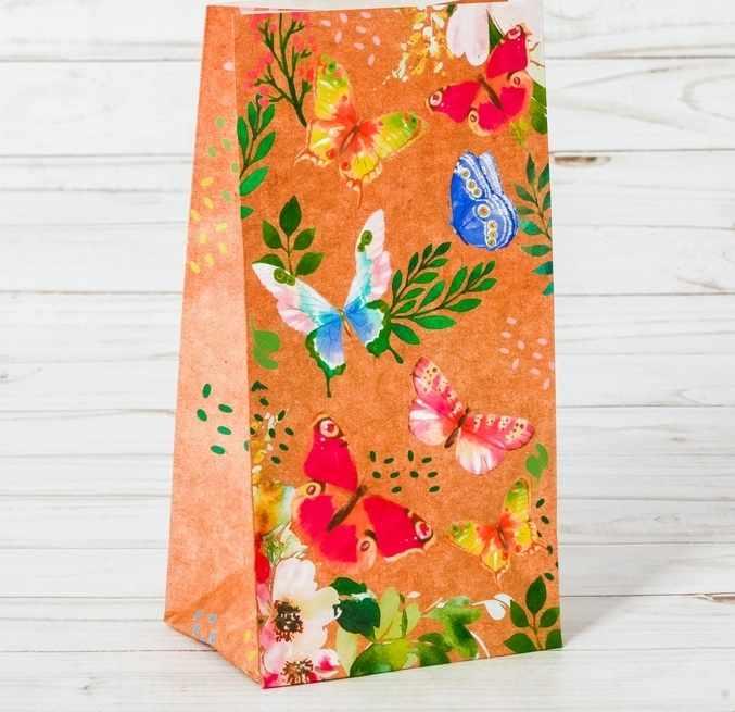 """2678916 Пакет подарочный без ручек """"Райские бабочки"""""""