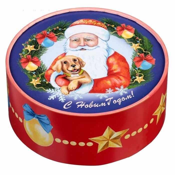 "2751139 Коробка круглая ""Дед мороз с собачкой """