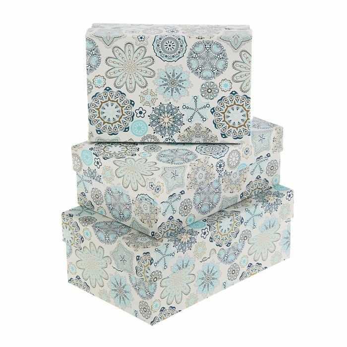 """1760180 Набор коробок 3в1 """"Снежинки на белом"""""""