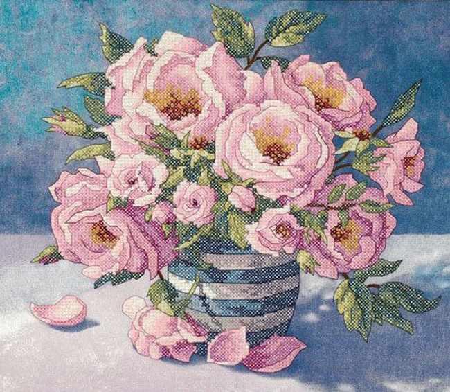 3234-DMS Розы в вазе