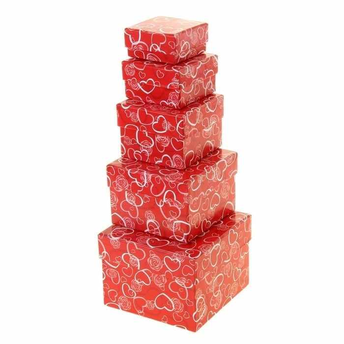 "1160748 Набор коробок 5в1 ""Сердечки на красном"""