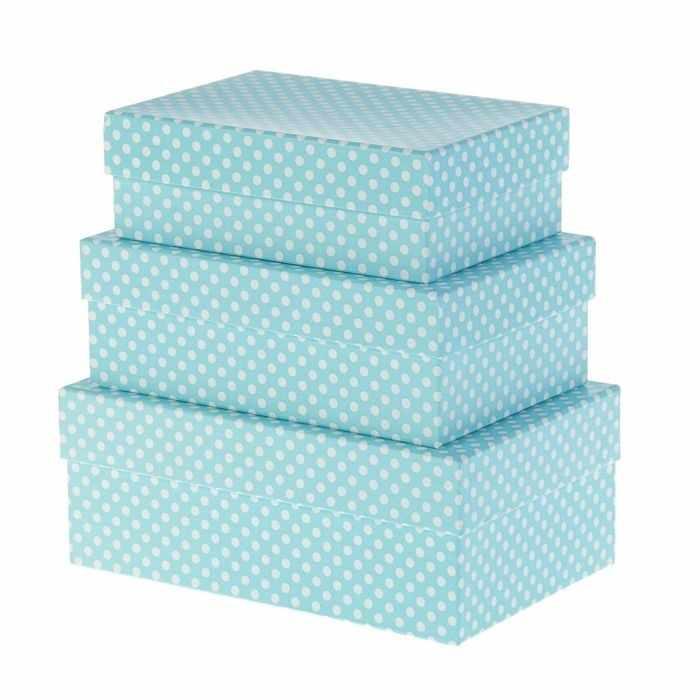 """2602347 Набор коробок 3в1 """"Белый горошек на голубом"""""""
