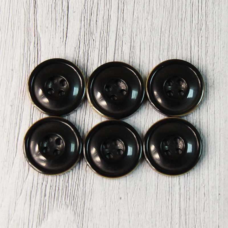 CRZ 0010 34 Пуговицы костюмные с проколами-1 №A008 черный, 6 шт
