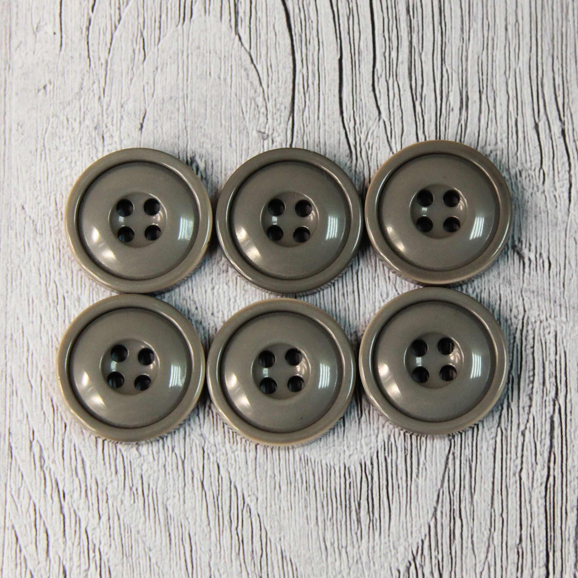 CRZ 0010 34 Пуговицы костюмные с проколами-1 №D135 серый, 6 шт