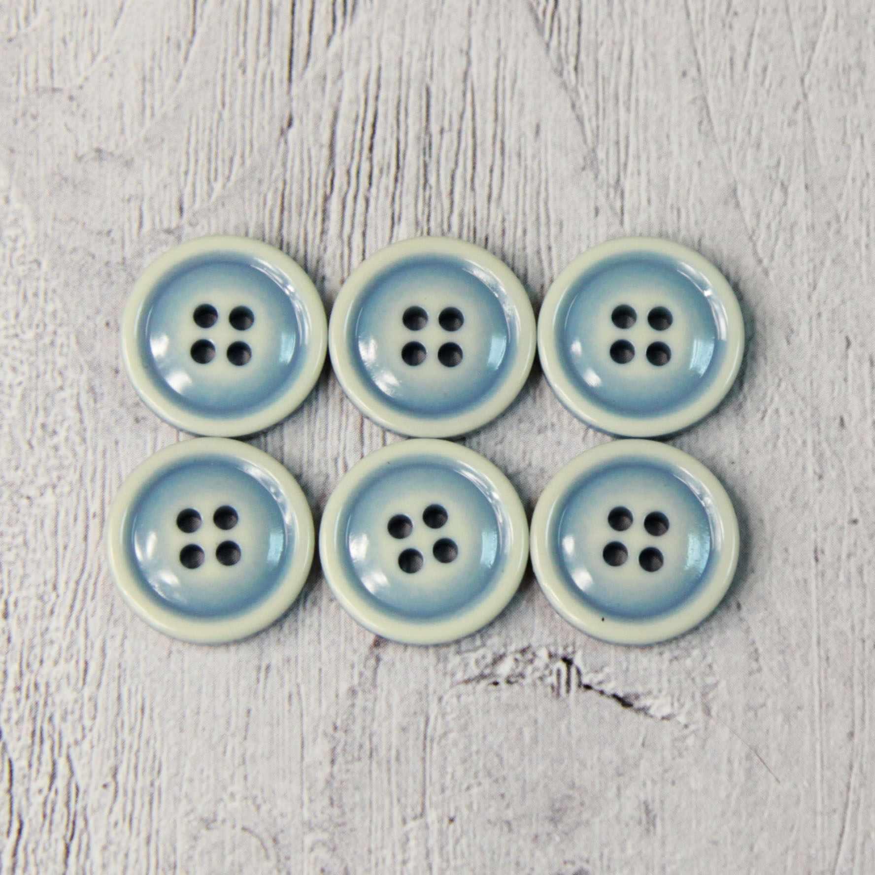 CRZ 0016 24 Пуговицы костюмные с проколами-1 №D903 серо-голубой, 6 шт