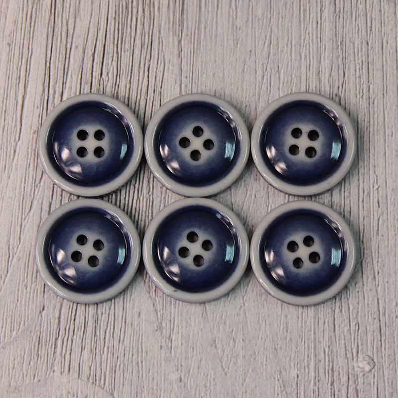 CRZ 0016 32 Пуговицы костюмные с проколами-1 №D067 темно-синий, 6 шт
