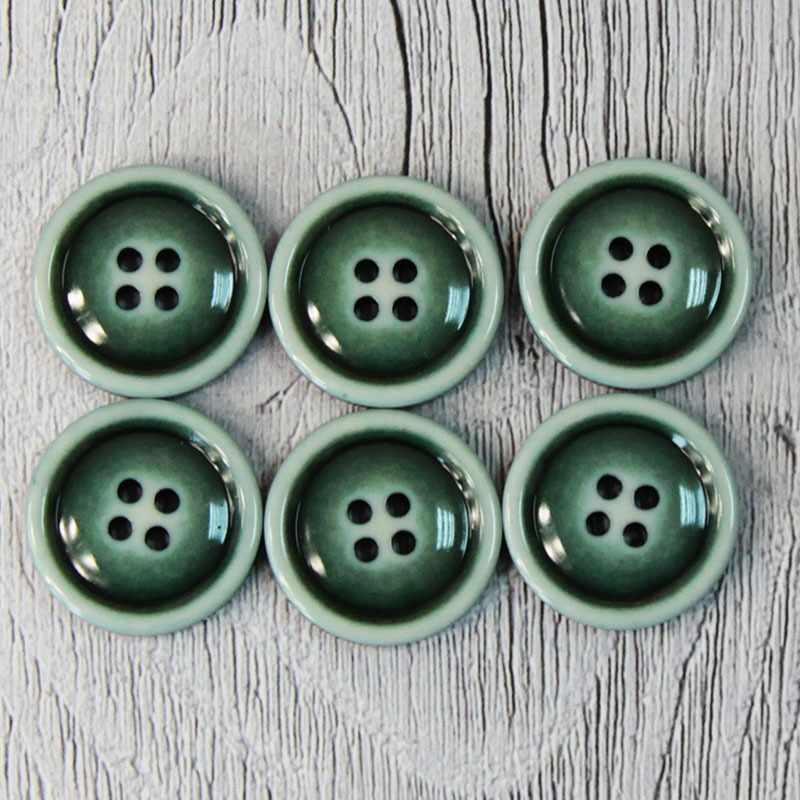 CRZ 0016 32 Пуговицы костюмные с проколами-1 №D890 зеленый, 6 шт