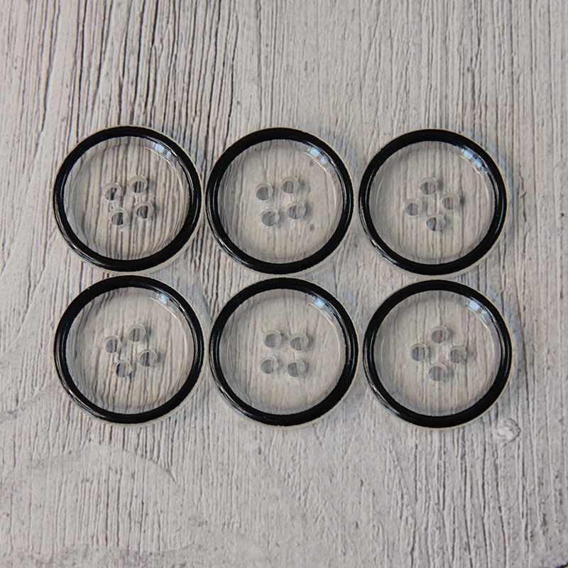 EL 0013 34 Пуговицы костюмные с проколами-1 № 01 прозрачный, 6 шт