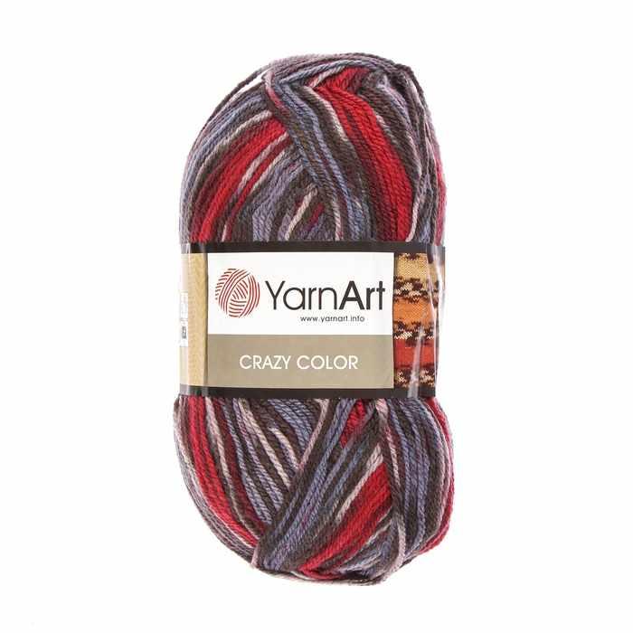 Пряжа YarnArt Crazy Color Цвет.164 Сине-красно-чёрный меланж