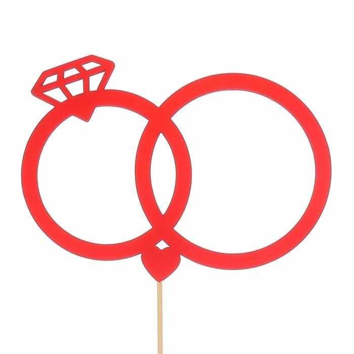 2885842 Топпер «Свадебные кольца», красный