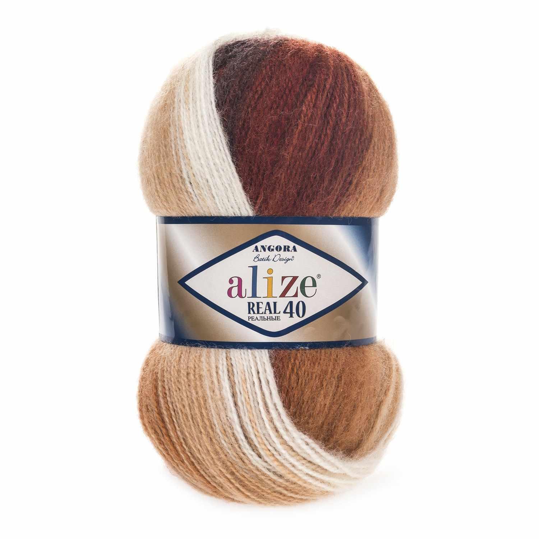Пряжа Alize ANGORA REAL 40 BATIK Цвет.2626 Бежево-коричневый
