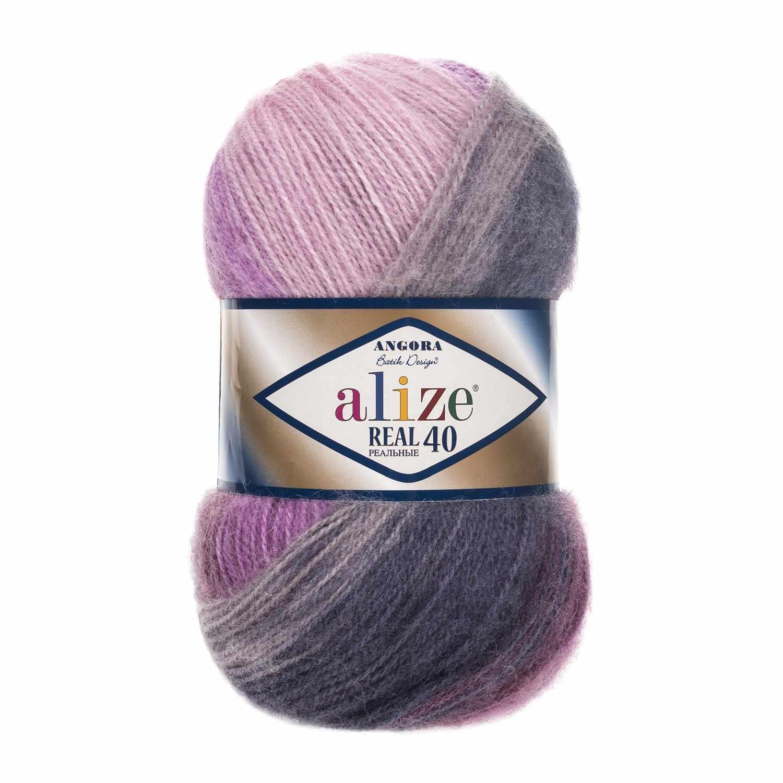 Пряжа Alize ANGORA REAL 40 BATIK Цвет.4760 Серо-розовый