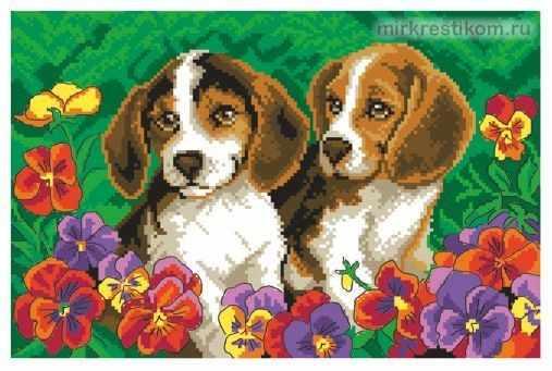722 Два щенка - схема для вышивания (Искусница)