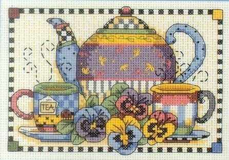 6877-DMS Чайные сервиз и анютины глазки