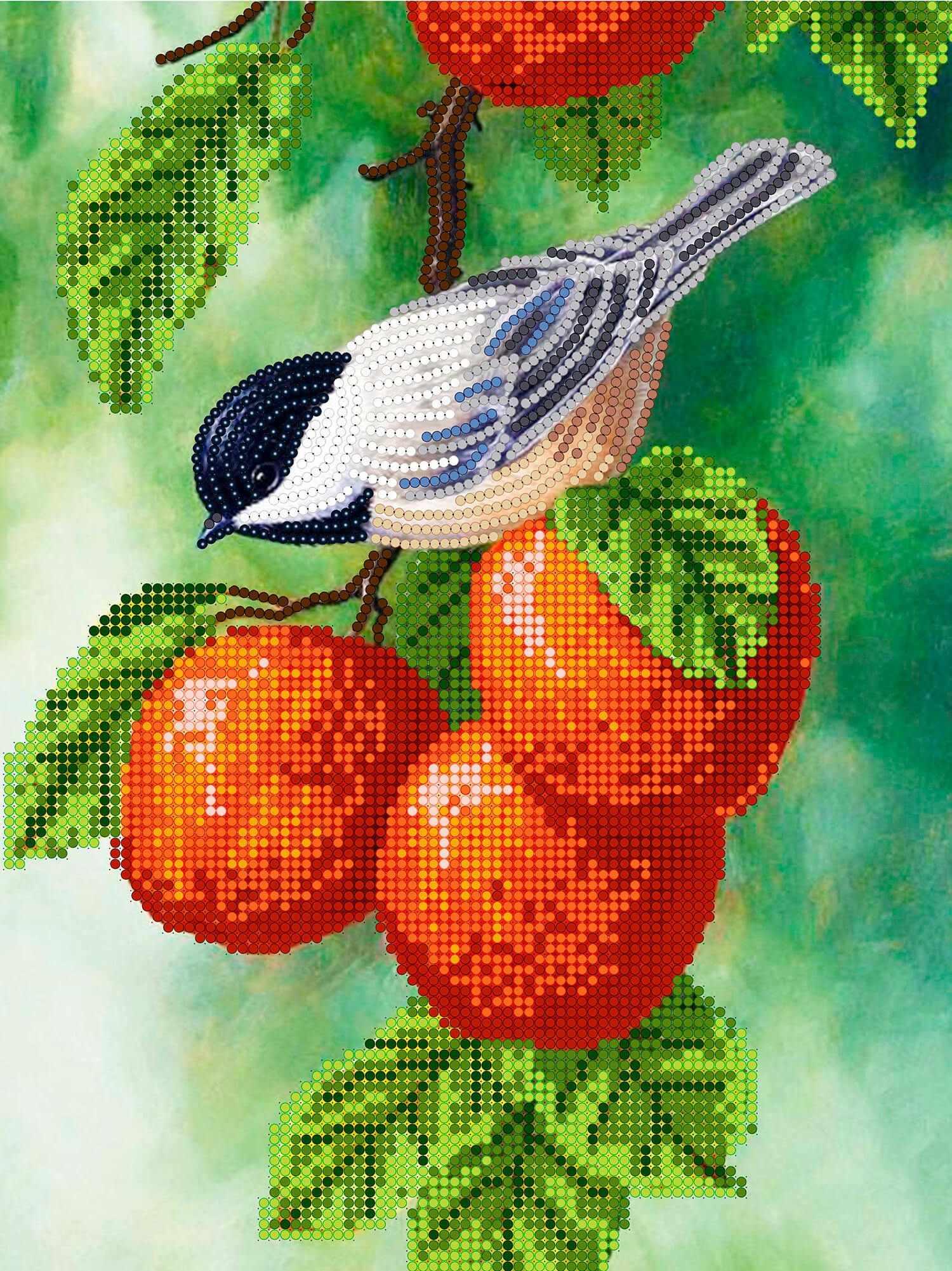 Вышивка бисером открытка 2 птичка певчая