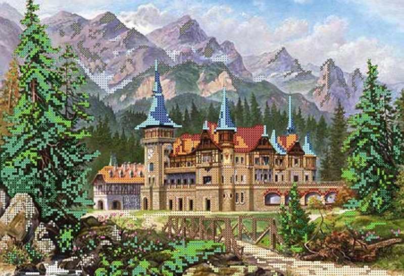 КБ-100 Замок в горах - схема для вышивания (Наследие)