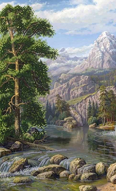 КБ-270 Лесной водопад - схема для вышивания (Наследие)