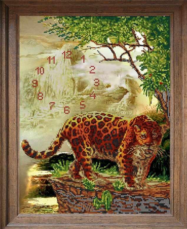 В634 Часы с леопардом - схема для вышивания (FeDi)