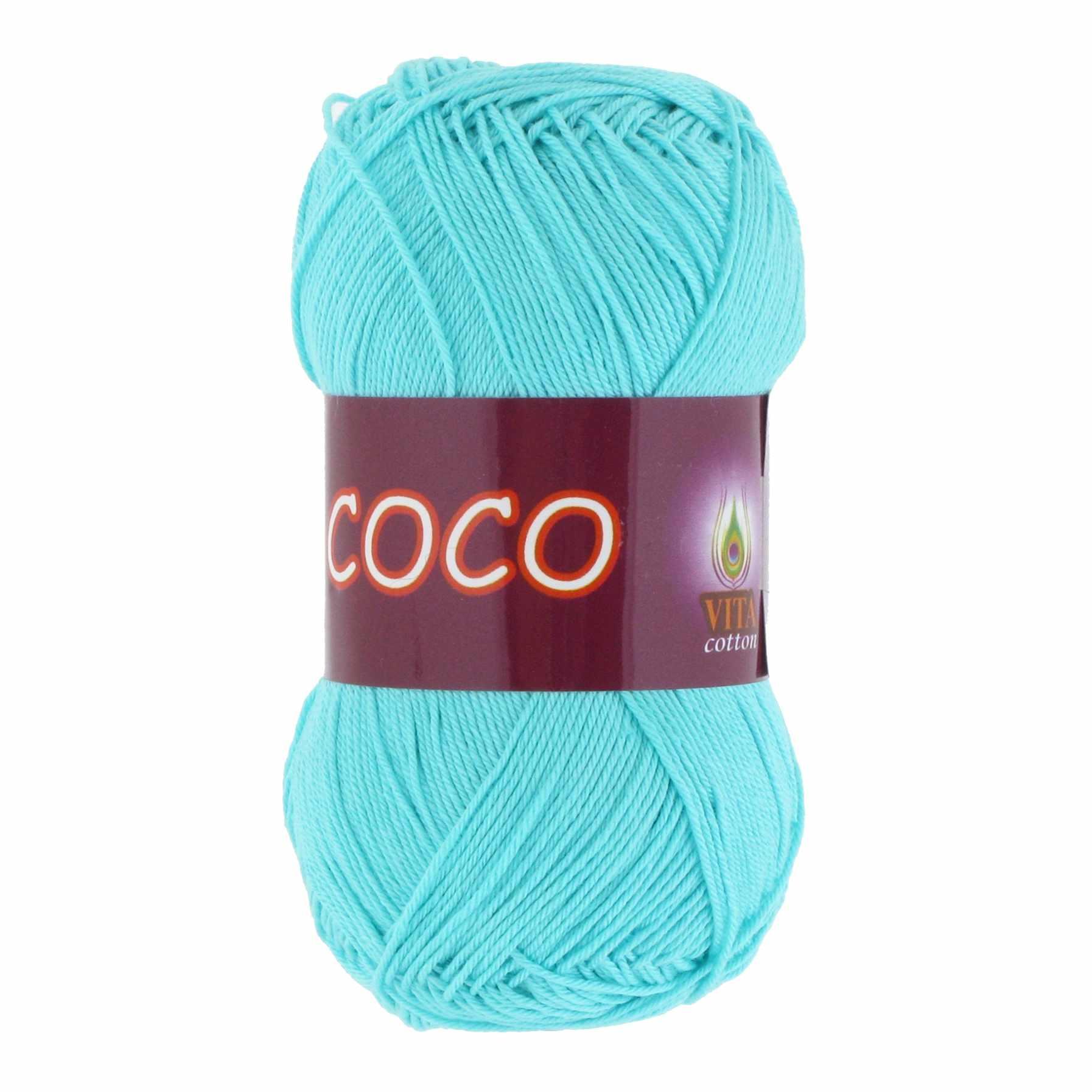 Пряжа VITA Coco Цвет.3867 Светлая зеленая бирюза