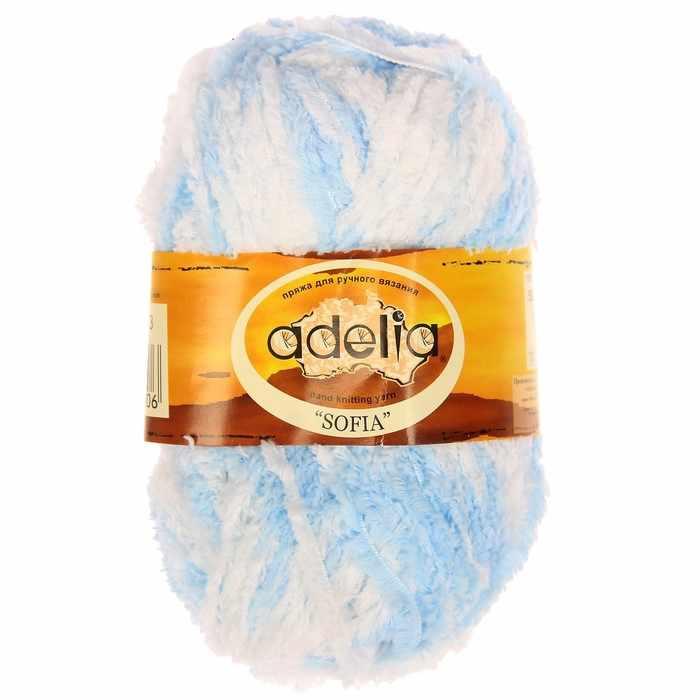 Пряжа Adelia Sofia 03 голубой/белый