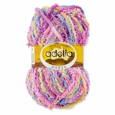Пряжа Adelia Sofia 06 голубой/розовый/сиреневый/желтый