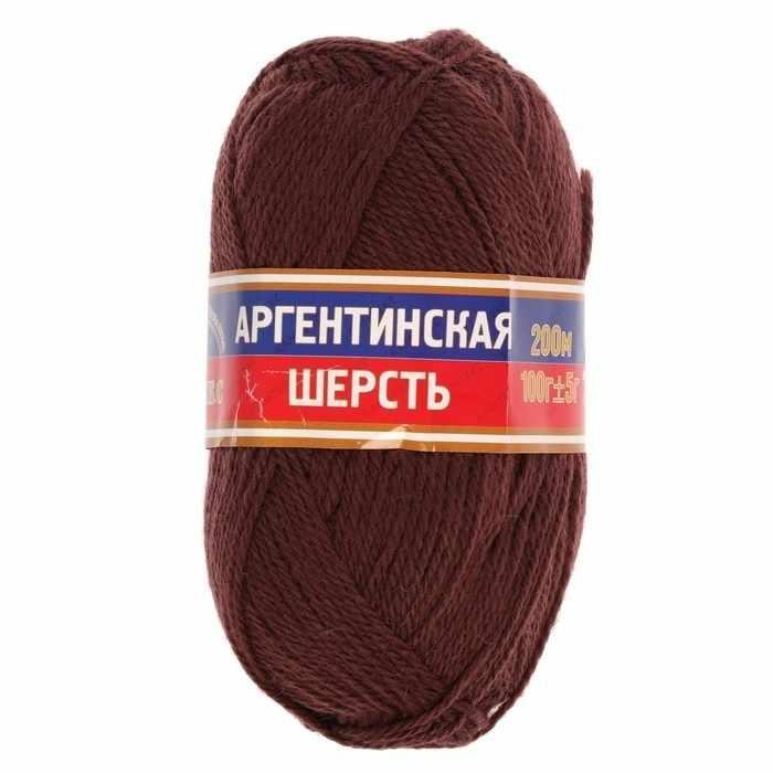 Пряжа Камтекс Аргентинская шерсть 100 г Цвет.121 Коричневый