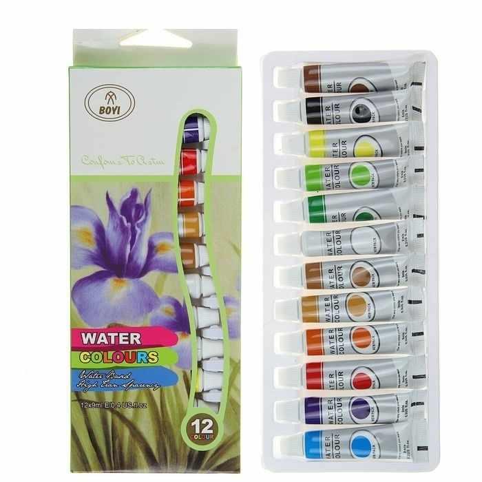 1505423 Краски акварельные, 12 цв в пластиковой тубе, 9 мл