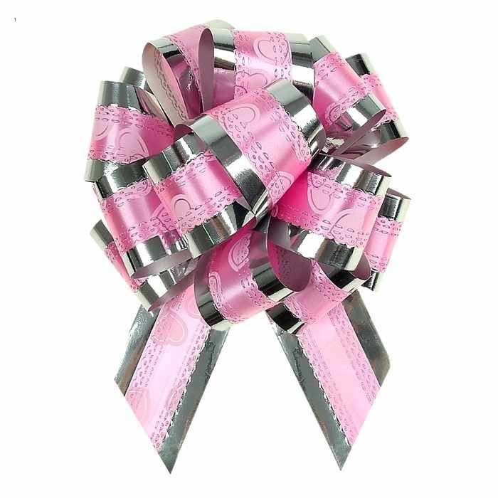"""848860 Бант-шар №3,2 """"Воздушные сердца"""", цвет розовый"""