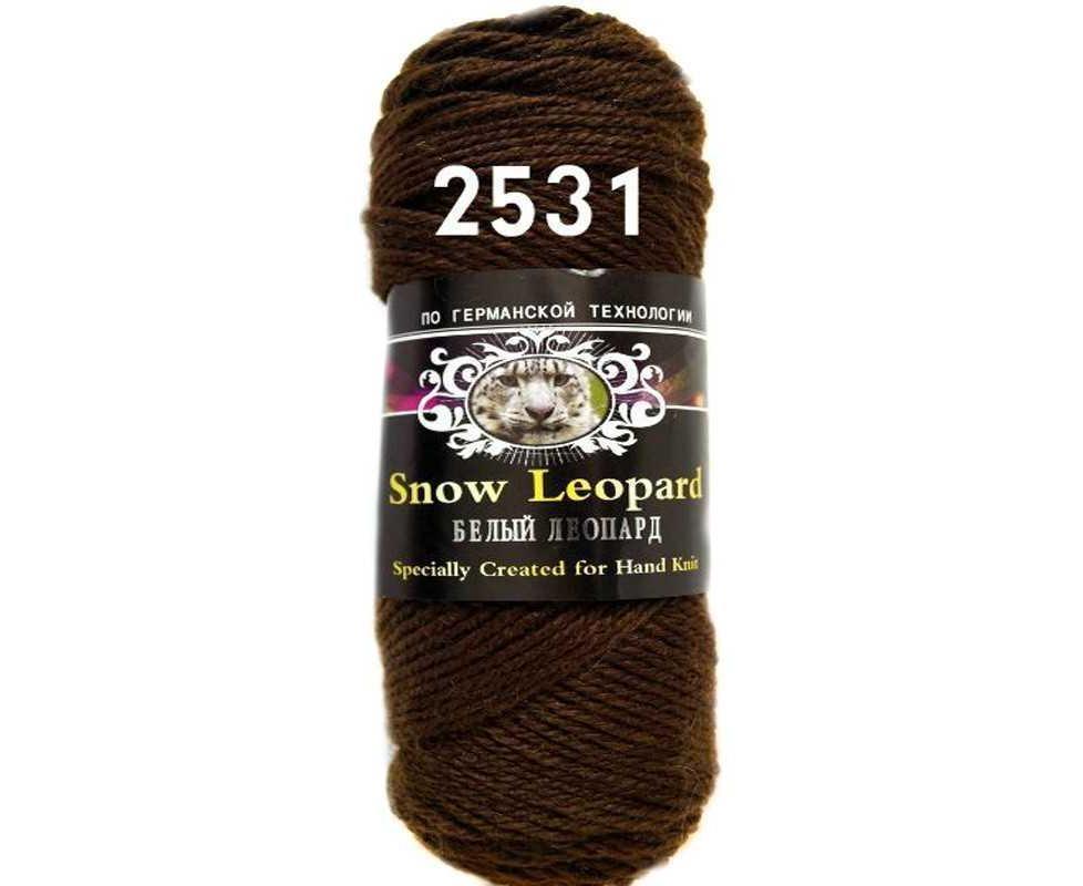 Пряжа Color City Белый Леопард Цвет.2531 Темно коричневый