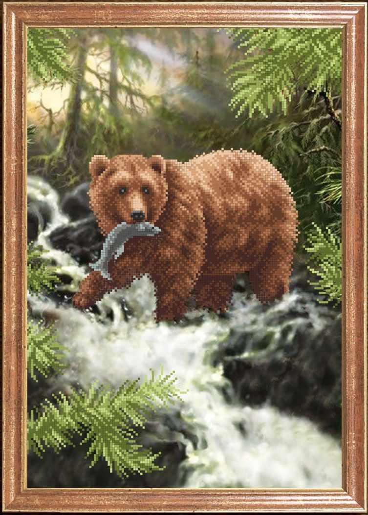 КС-114 Медведь с рыбой - схема для вышивания (Магия канвы)