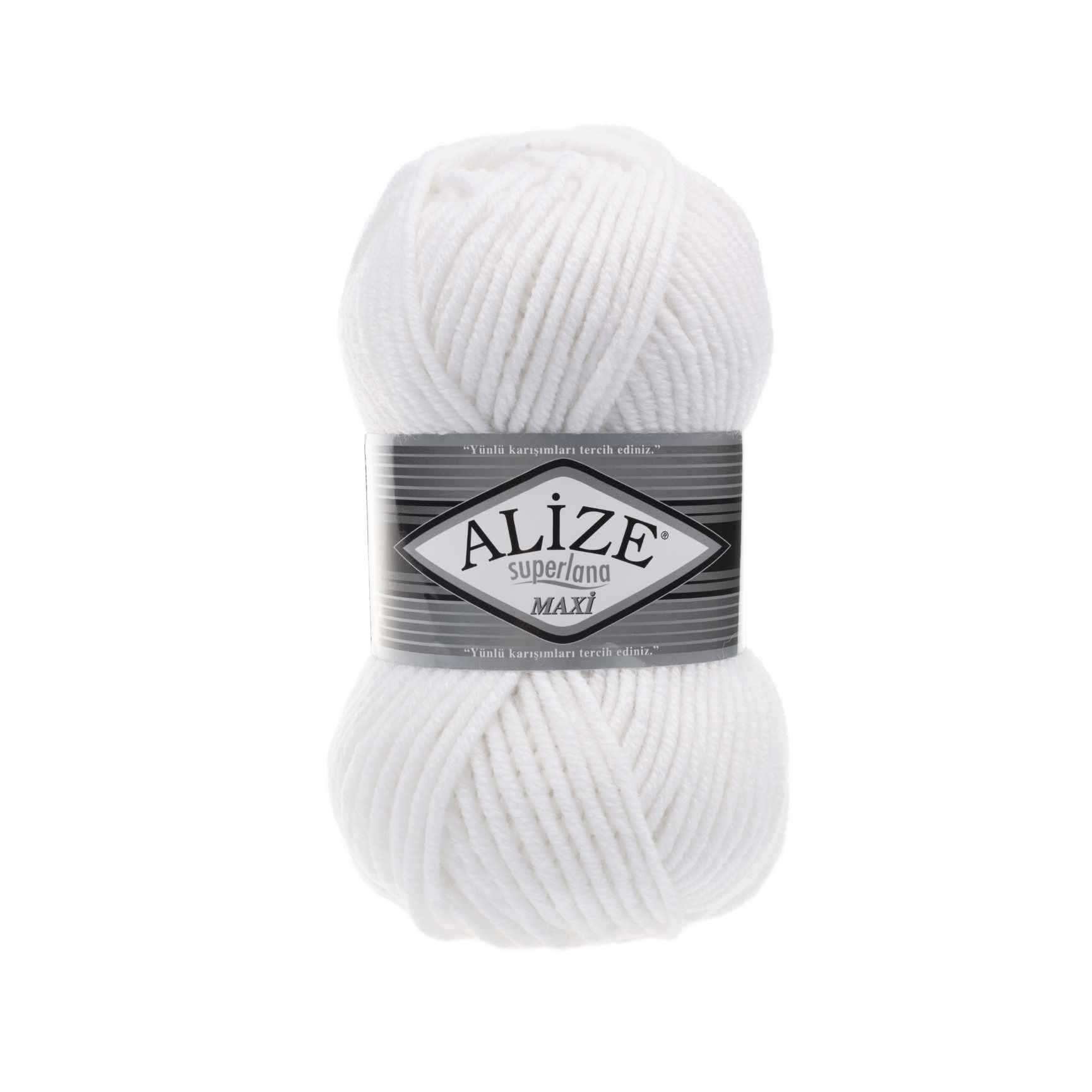 Пряжа Alize Superlana Maxi Цвет.55 Белый