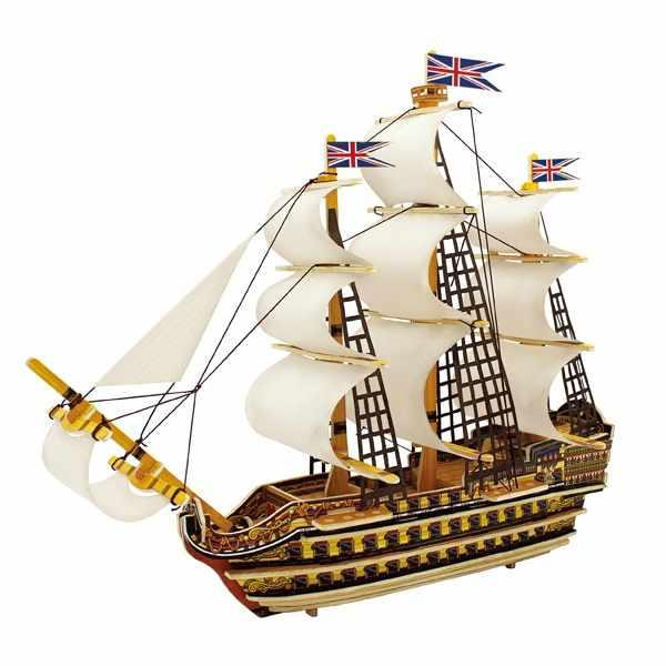 BA501S Деревянные 3D пазлы Корабль победа, 64 детали