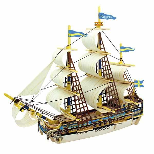 BA503S Деревянные 3D пазлы Шведский корабль, 52 детали