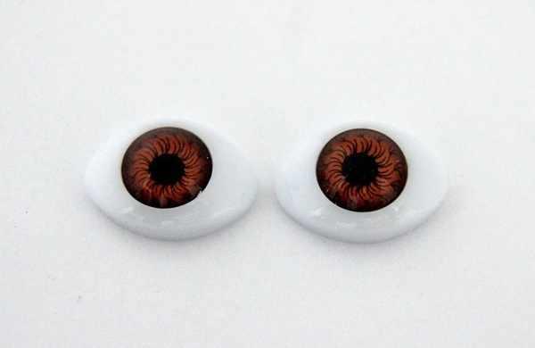 23430 Глазки овальные №12, 16 мм*23 мм, упак./4шт., цв. карий