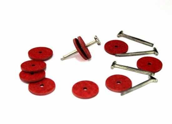 23533 Набор креплений фибра №15 для игрушек, 10 дисков (15 мм), 5 Т-образных шплинтов (2,0 см)