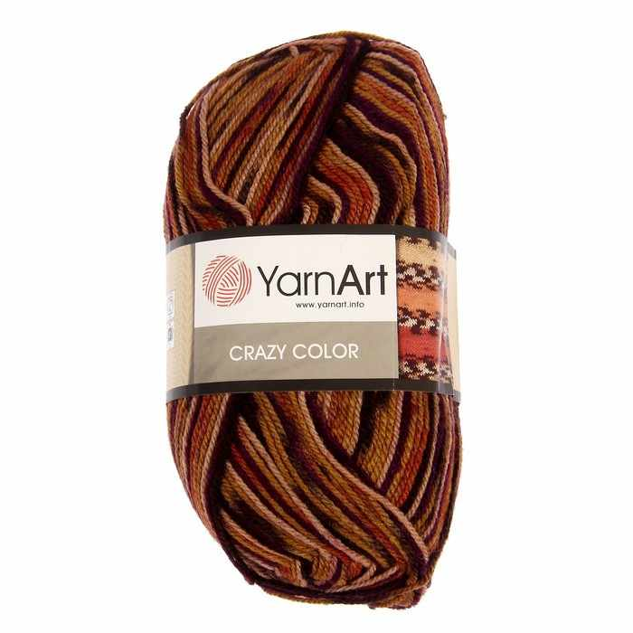 Пряжа YarnArt Crazy Color Цвет.155 Горчично - сливовый