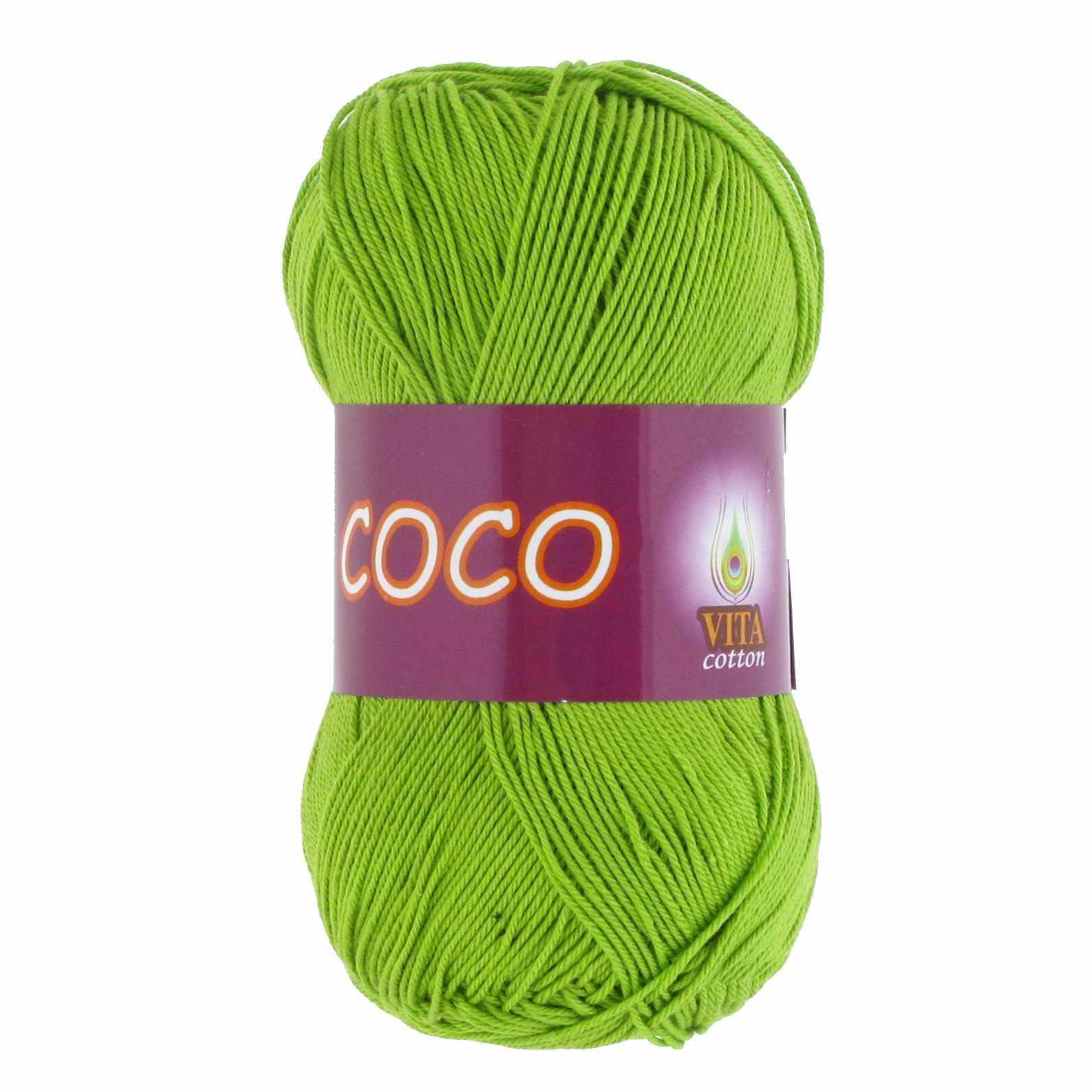 Пряжа VITA Coco Цвет.3861 Ярко-зеленый