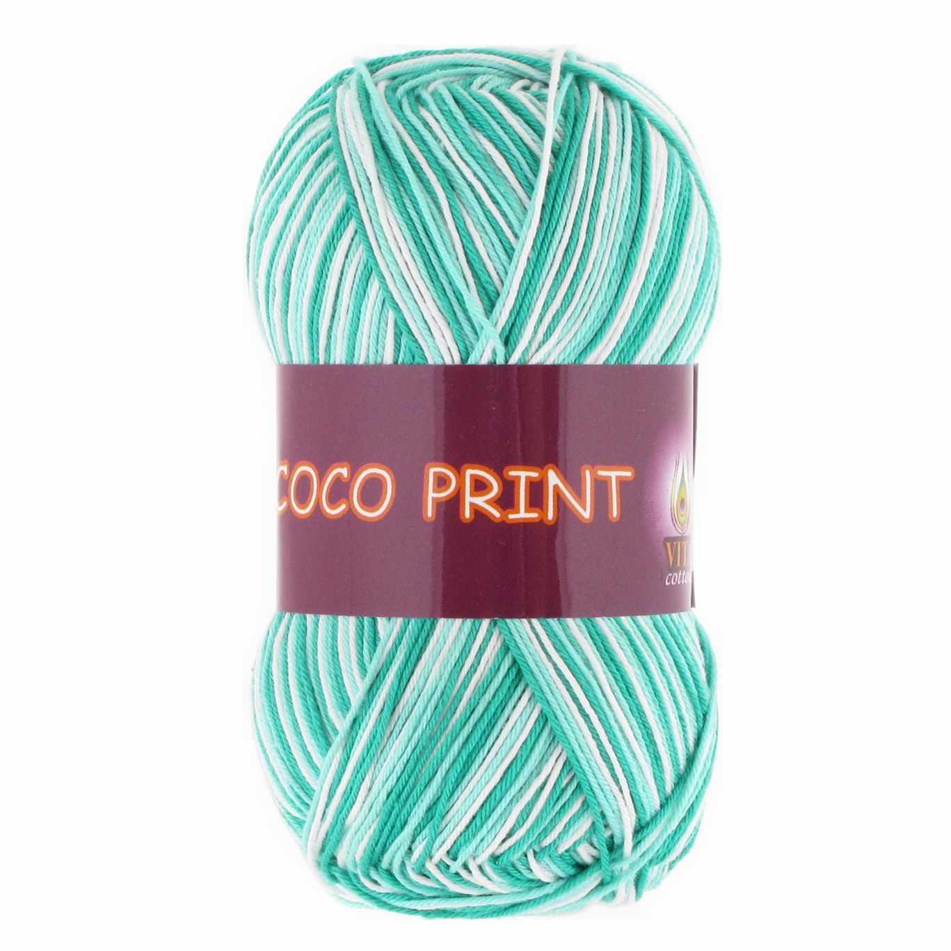 Пряжа VITA Coco print Цвет.4675 Зеленая бирюза