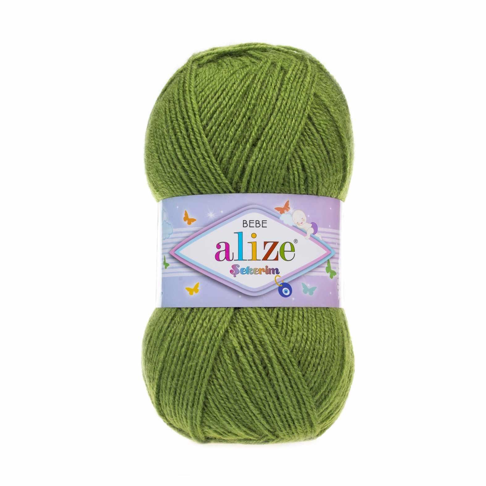 Пряжа Alize Sekerim Bebe Цвет.210 Темно-зеленый