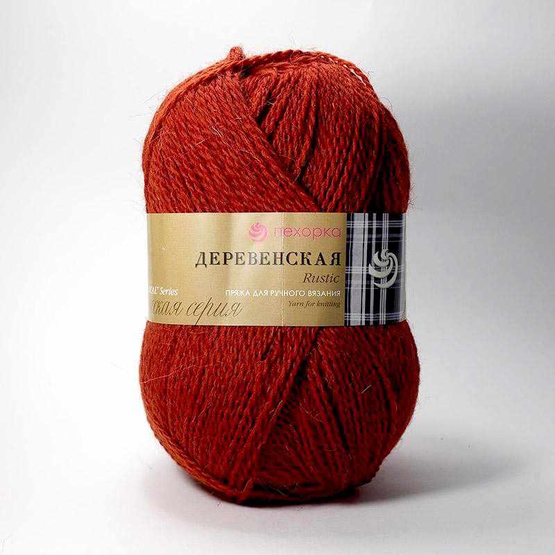 Пряжа Пехорка Деревенская Цвет.487 Красное дерево
