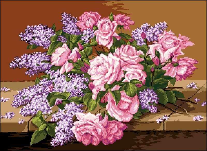 0749Liliac si trandafiri