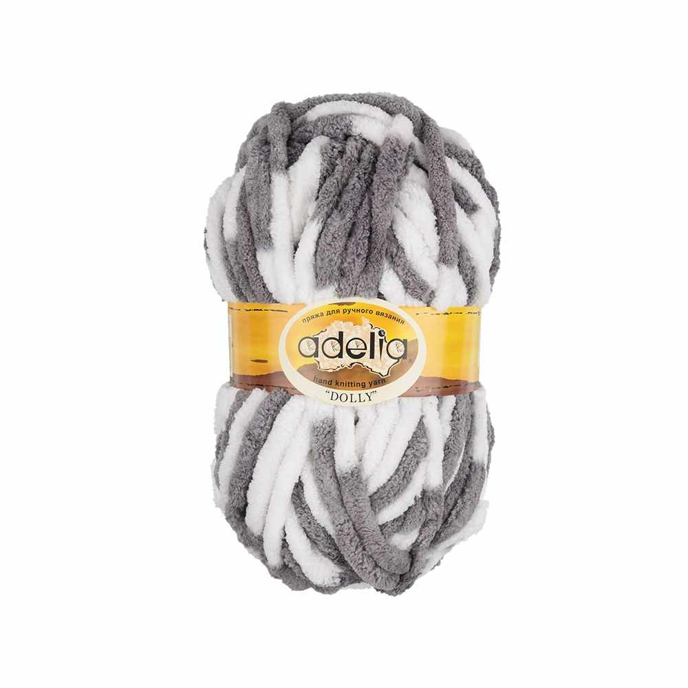 Пряжа Adelia Dolly 15 бело-серый