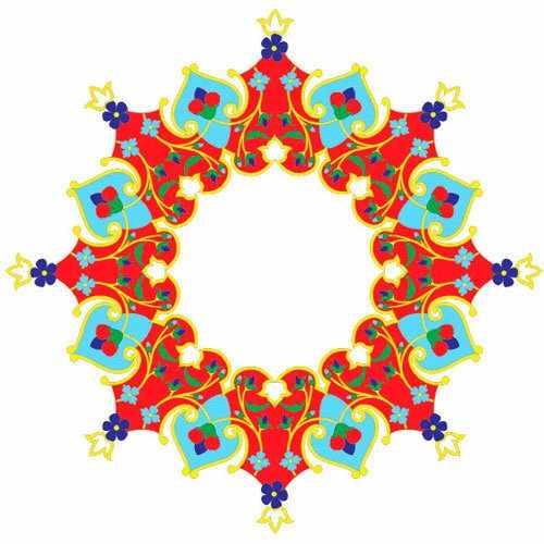Трансфер  для стекла и керамики глиттер (запекаемый) ''Турецкая роспись круглая тарелка'' (OSD-14)