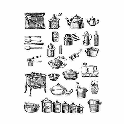 """Трансфер декоративный (R-302)  черный """"Кухонные приборы"""""""