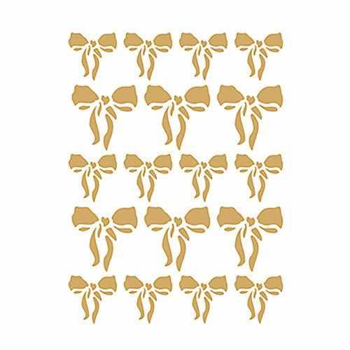 Трансфер декоративный (V-092) золотой ''Бантики''