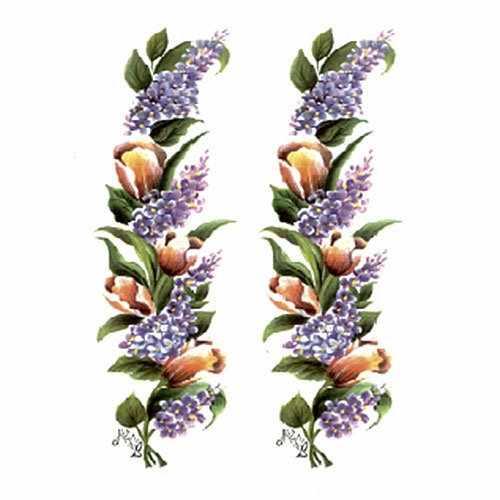 """Трансфер универсальный """"Сирень и тюльпаны вертикальные""""   (2 изображения, G-42)"""