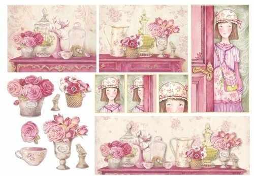 "DFS123 Бумага рисовая для декупажа Stamperia ""Розовый дом""  48х33 см, 28 гр  ."